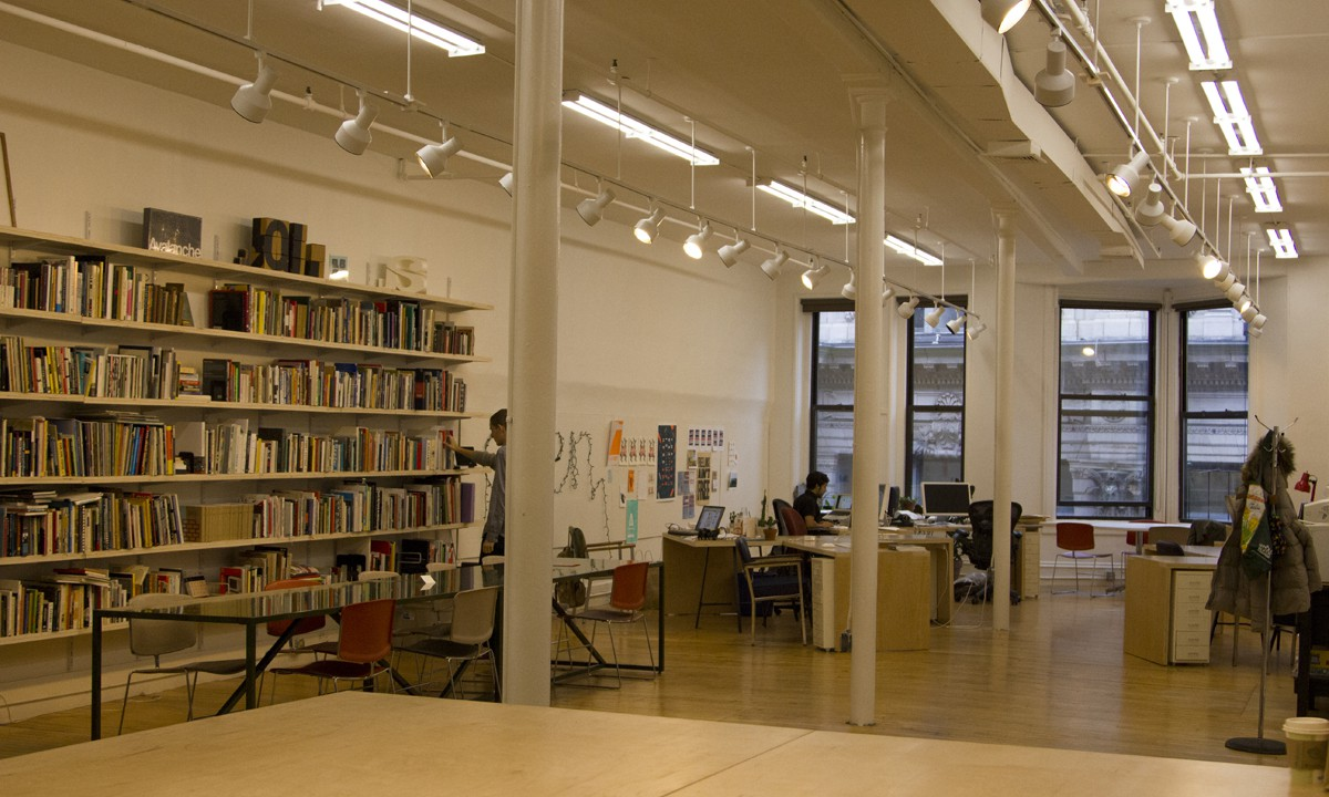 the design office. Expansion Of A Co-working Space For Designers In Providence, Including 12 Desks Members, Library, And Production Area. The Design Office I